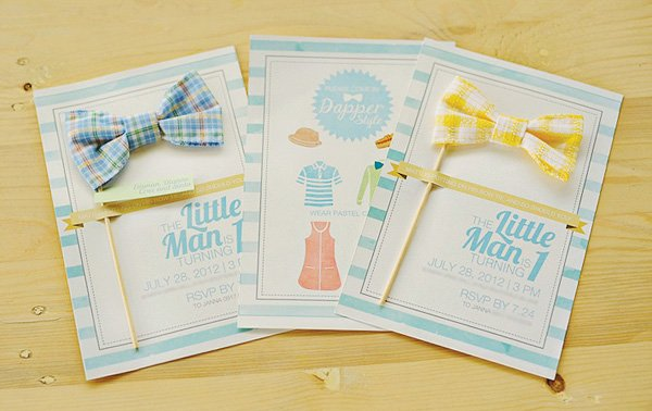 little man bow tie invitation