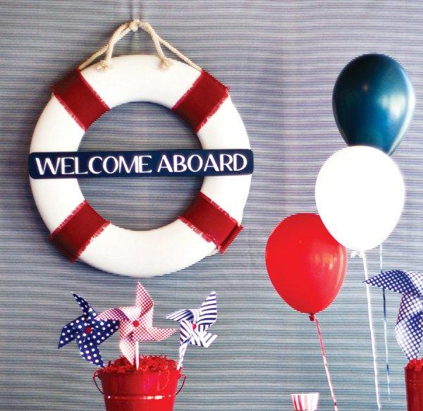 nautical welcome sign life raft