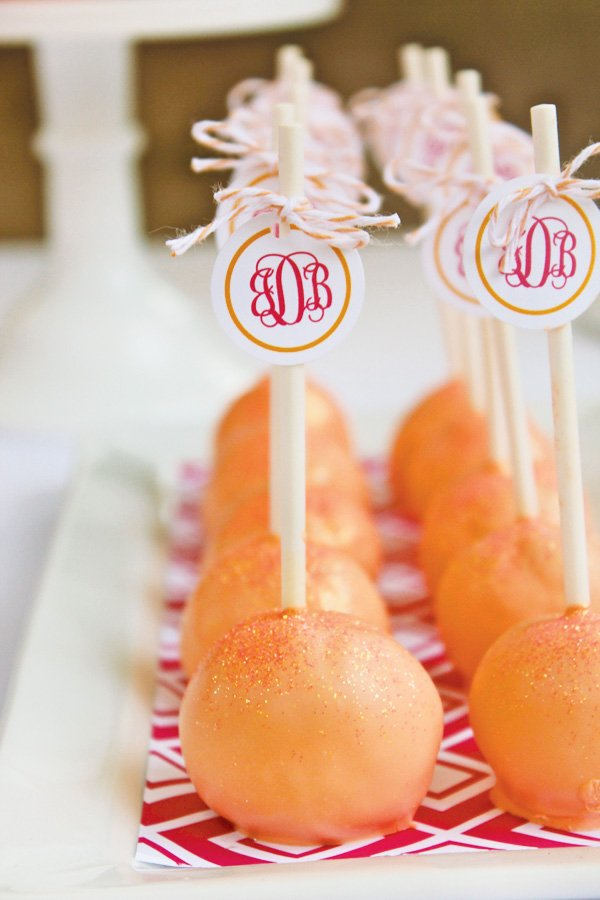 orange sparkle cake pops
