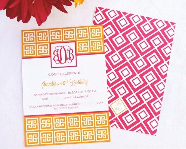 pink and orange geometric invitation