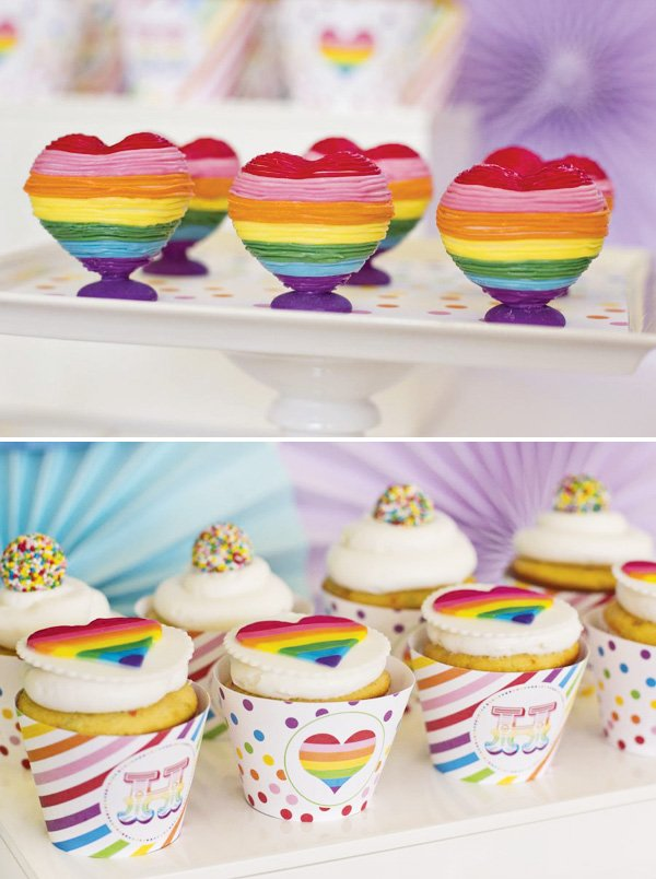 rainbow heart desserts