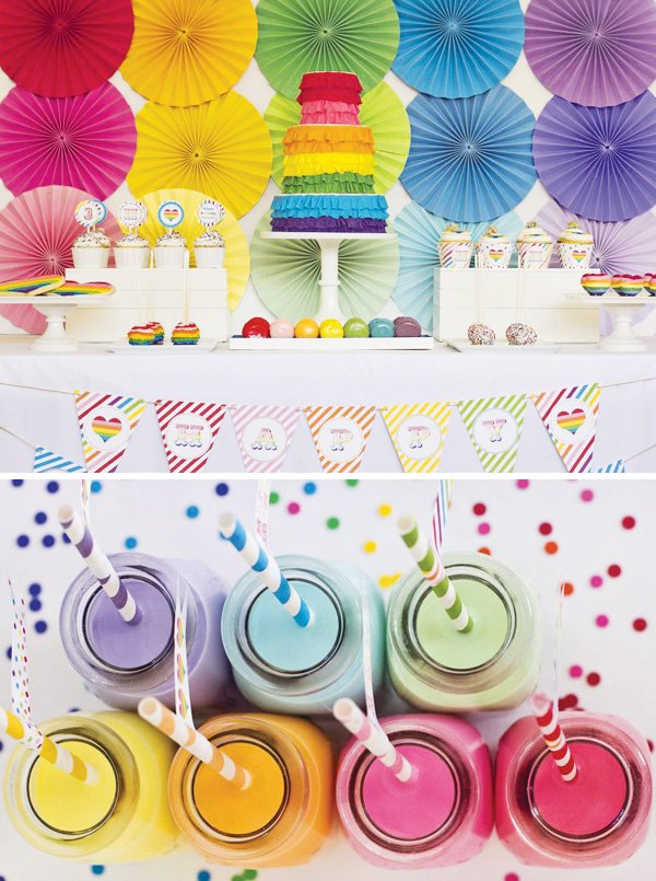 rainbow ruffle dessert table