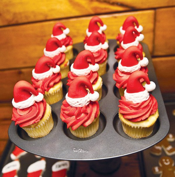 Christmas Baking Party Ideas Part - 16: Santa Hat Cupcakes. Christmas Cookie Decorating Party
