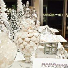 silver christmas dessert table