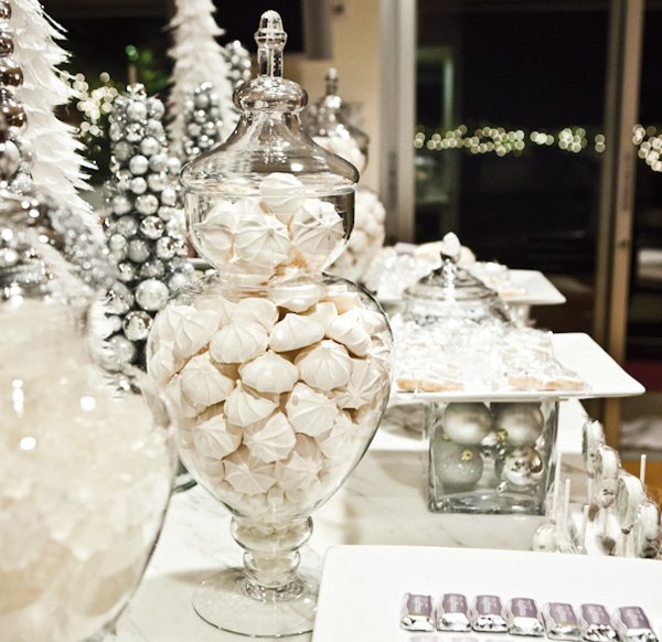 Naughty & Nice Winter Shimmer Dessert Table // Hostess