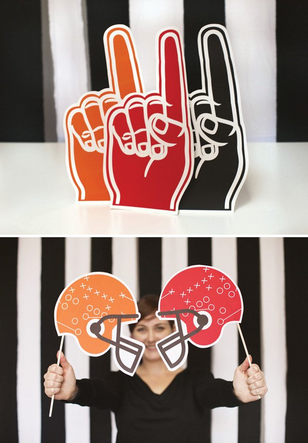 sports fan hands and football helmet printable silhouettes