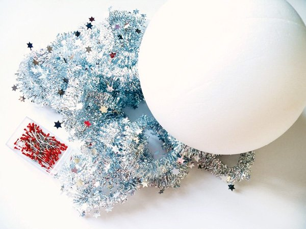tinsel ball drop diy tutorial materials
