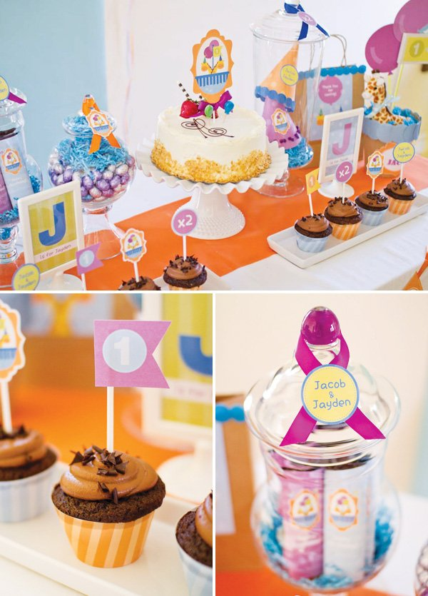 twins first birthday dessert table