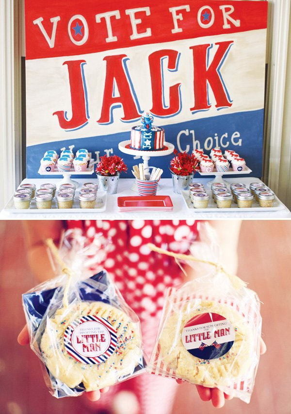 vote for the little man dessert table