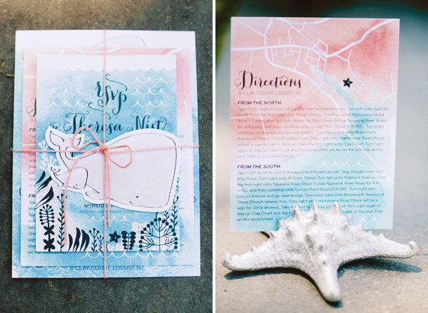 whale baby shower invitation set