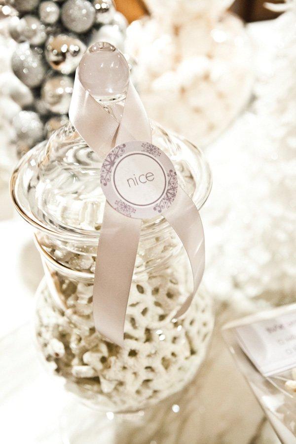 white winter candy jar