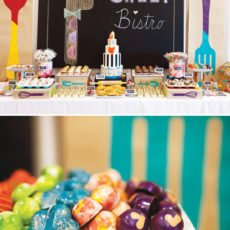 Operation shower baby bistro shower dessert table