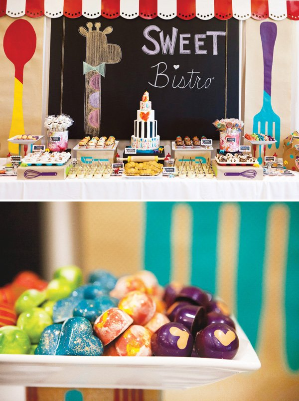 Operation shower baby bistro shower dessert table