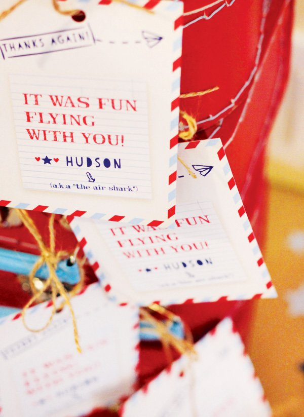 airplane party favor tags