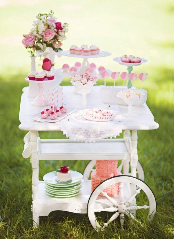 antique cart desserts