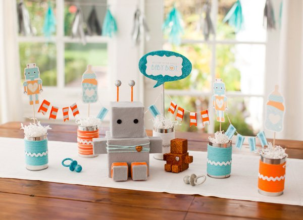 robot baby shower centerpiece