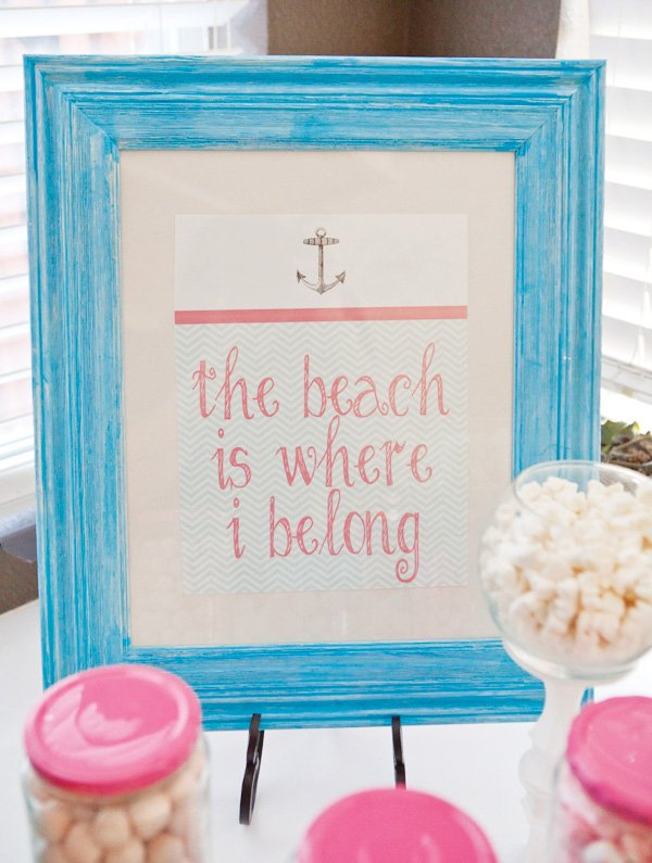 pink teal beach themed birthday party hostess with the mostess