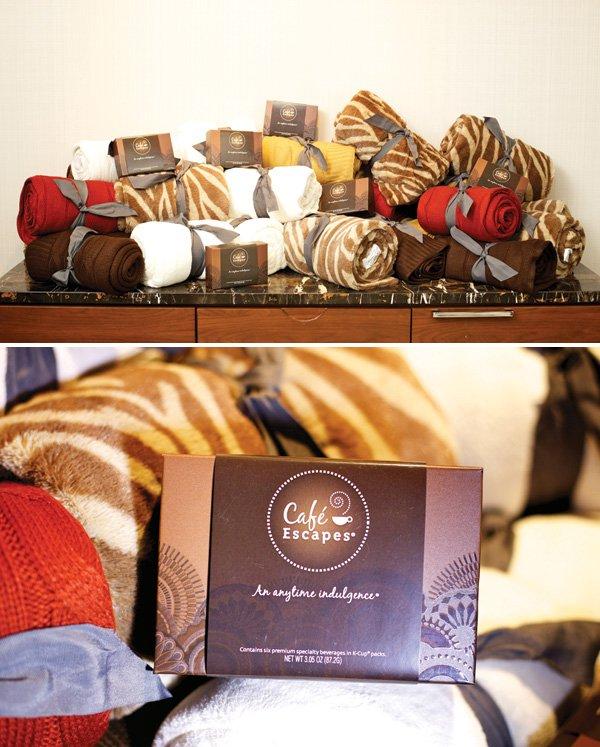 cafe escape blanket favors
