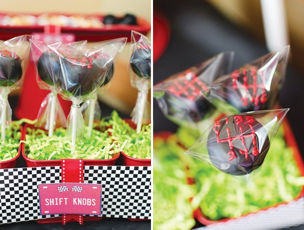car shift gear cake pops