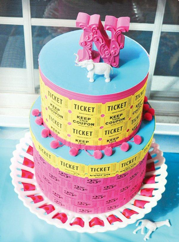 circus ticket cake