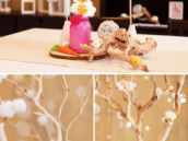 cotton ball snow garlands and cotton ball flower arrangements