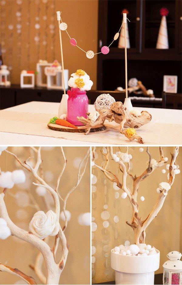 cotton ball snow garlands and cotton ball flower arrangements