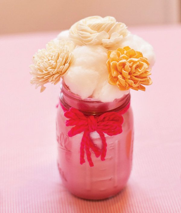 DIY painted mason jars and cotton ball flowers