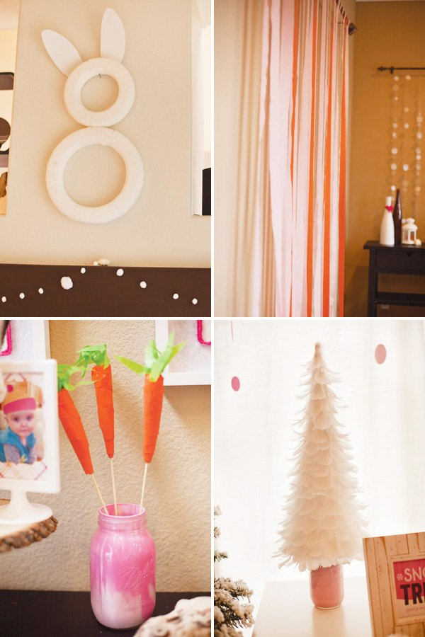 DIY bunny shaped crepep paper wreath, crepe paper carrots, feather christmas tree