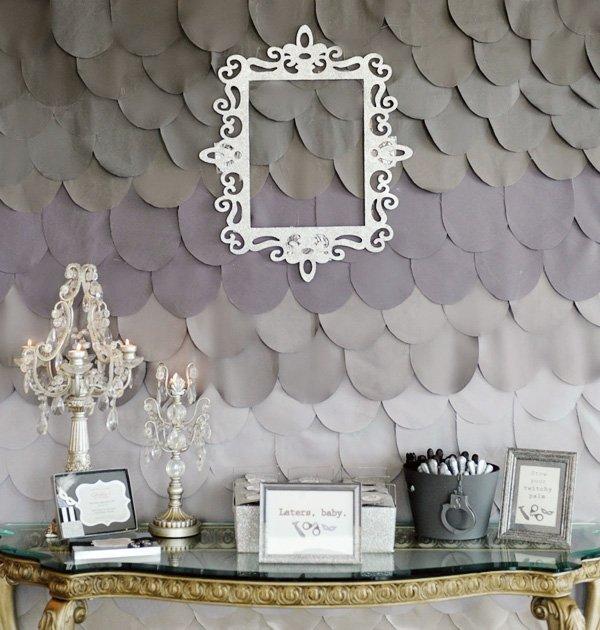 diy grey backdrop