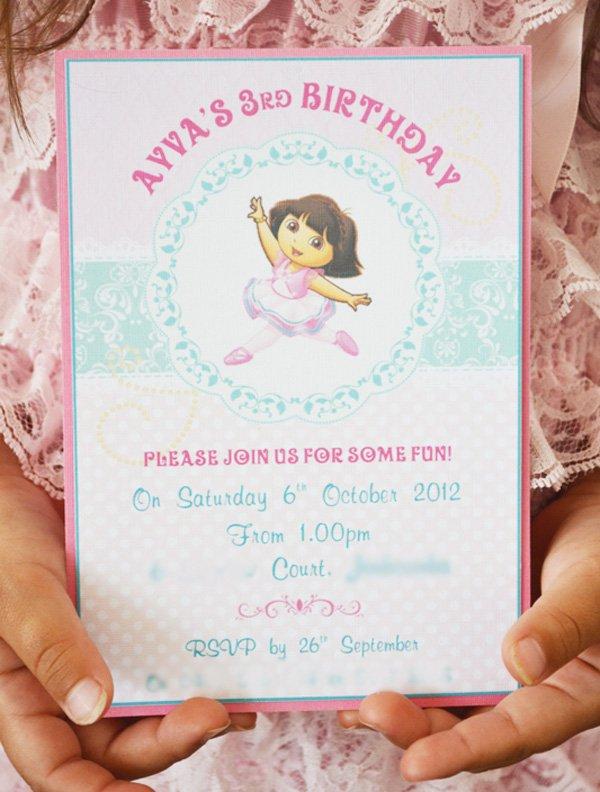 dora ballerina party invitation