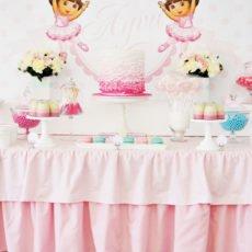 dora pink dessert table