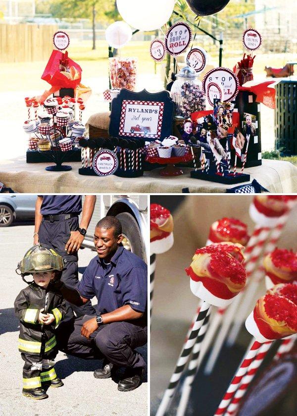 fireman party dessert table