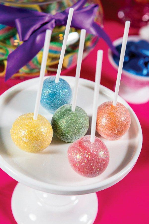 glitter rainbow cake pops