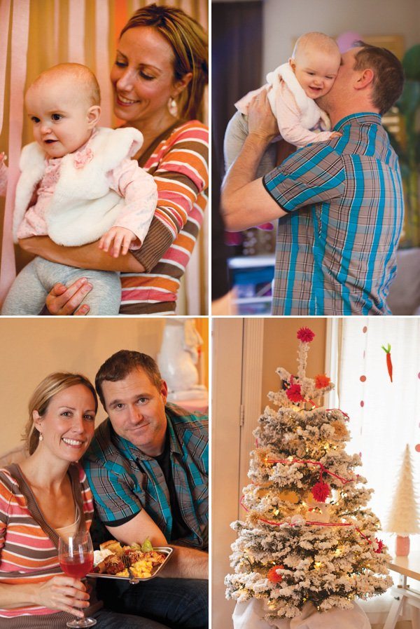 me and sonny with rylie + yarn pom decorated Christmas tree