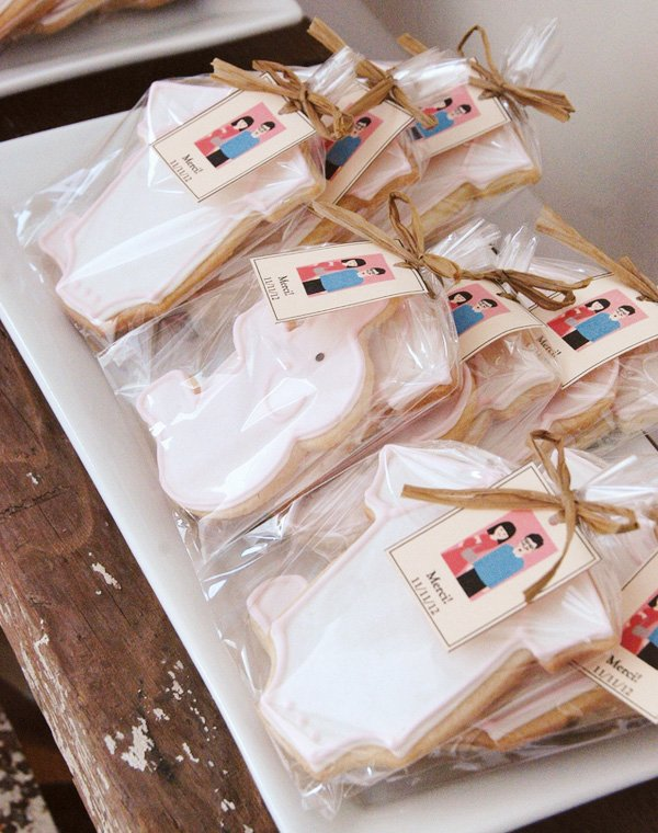 french baby shower cookie favors