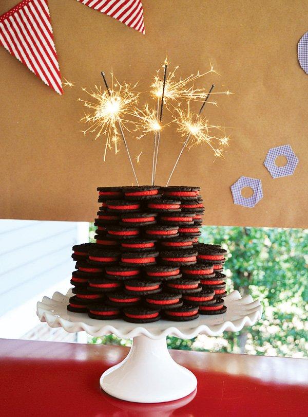 red oreo sparkler cake