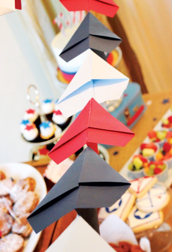 Vintage inspired paper airplane party hostess with the for Airplane decoration ideas