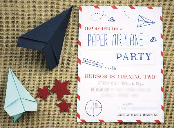 paper airplane party invitiation