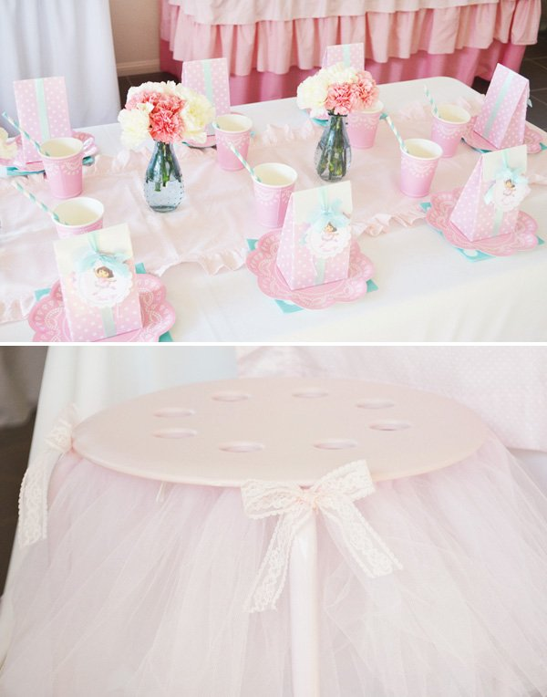 pink ballerina kids table