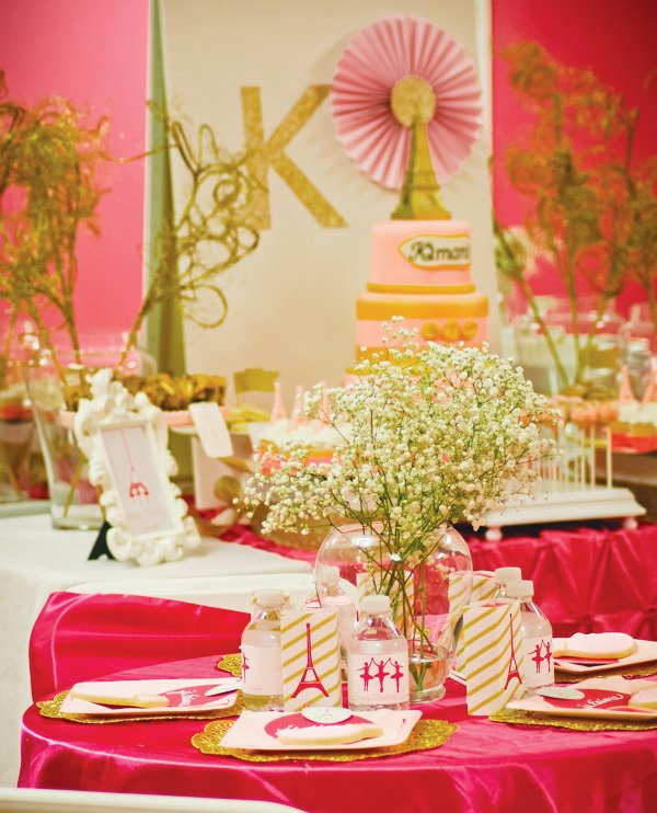 pink ballerina and paris themed tablescape