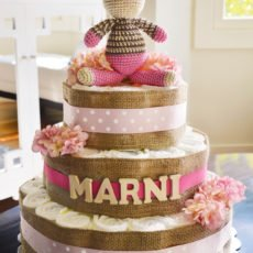 pink and burlap diaper cake