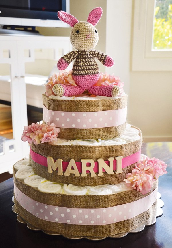 pink and burlap diaper cake