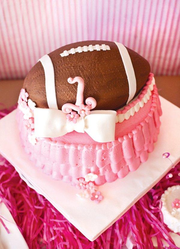 pink football cake