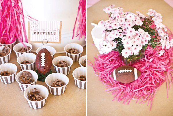 pink football centerpiece