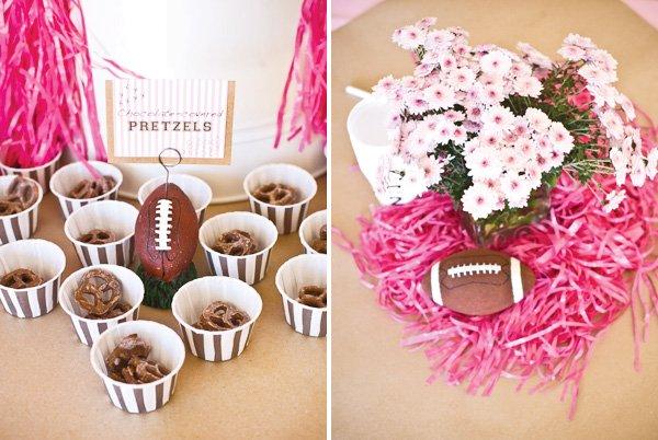 pink football centerpiece