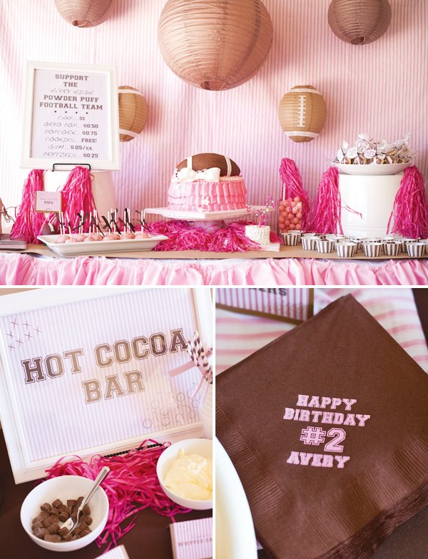 pink football party dessert table