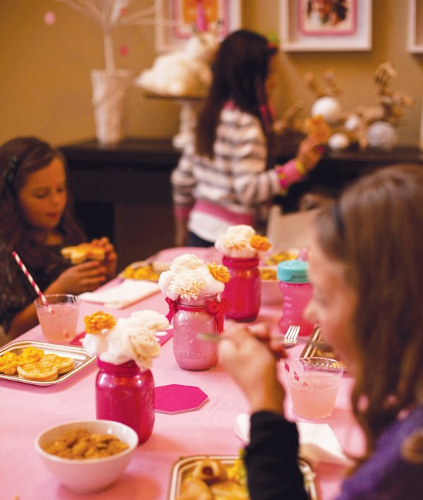pink and orange kids birthday party table