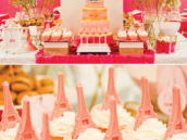 pink paris dessert table