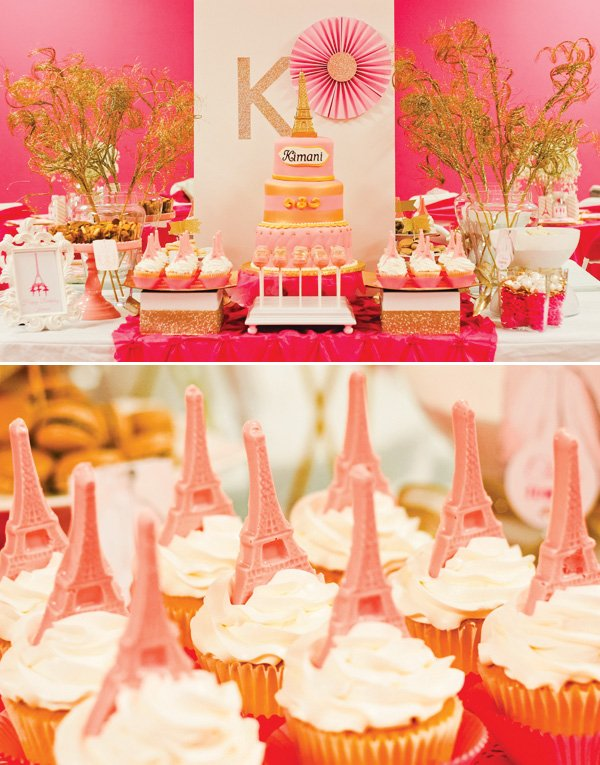 pink paris dessert table
