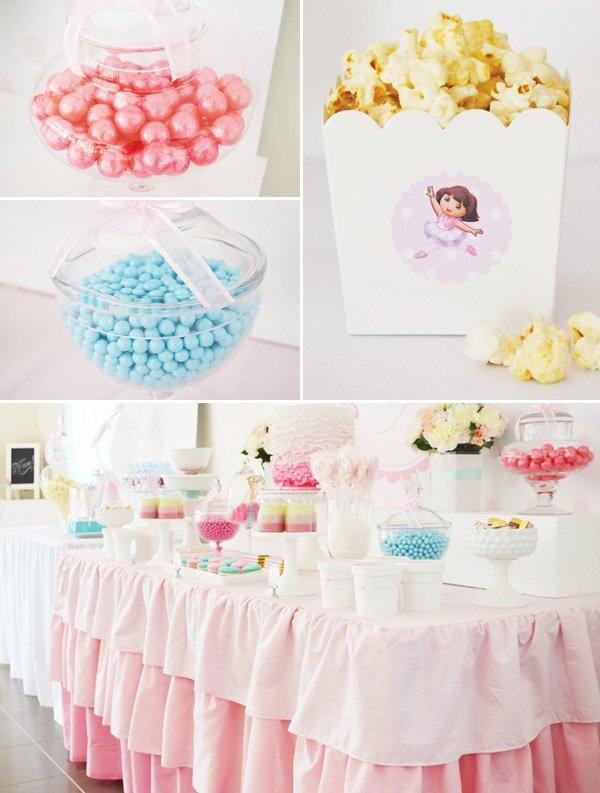 pink ruffle dessert table